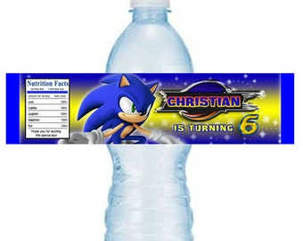 Sonic personalized birthday water bottle labels - printable