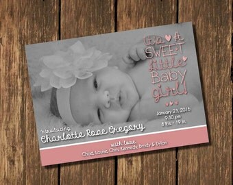 Birth Announcement, Baby Girl Birth Announcement, Pink Birth Announcement, Black & White Photo Birth Announcement
