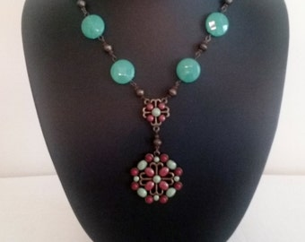 Turquoise And Coral Faux Southwestern Beaded Medallion Necklace
