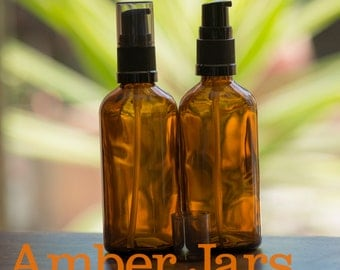 4 x 100ml Glass Amber Bottles with Gel Pump. DIY Gels, liquid soap & Lotion