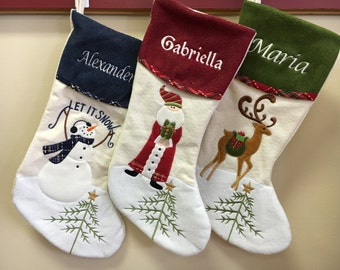 Christmas Stocking Personalized Embroidered Name Santa Reindeer Snowman