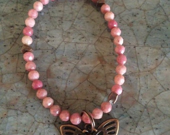 Of pink rhodonite bracelet
