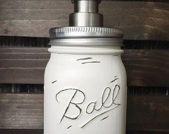 Painted Mason Jar Soap Dispenser - House Warming Gift - Wedding Shower Gift - Soap Dispenser - Shabby Chic