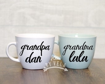 SET Custom Grandma and Grandpa - Pregnancy Announcement - Coffee Mugs