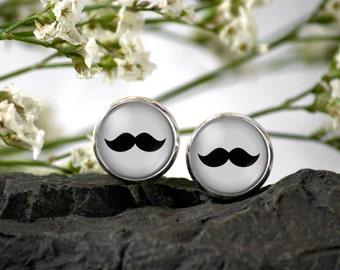 Mustache stud Earring - mustache Stud Earrings 12 mm - mustache illustration earrings