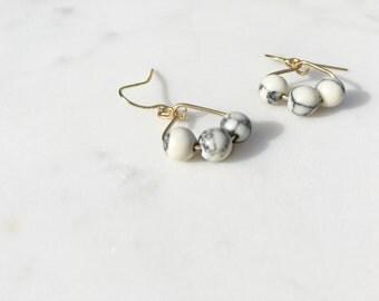 White Marble Earrings - White Howlite Earrings - Marble Earrings - Howlite Earrings - White Marble Jewelry - Howlite Jewelry - White Marble