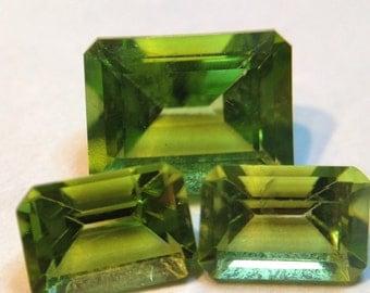 Natural Peridot Emerald Cut Set