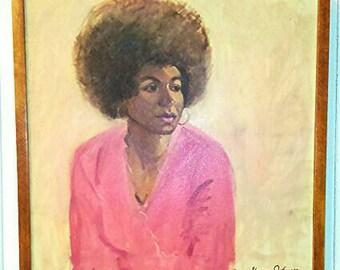Original Art, Afro Lady, Oil Painting, Vintage
