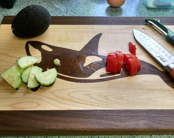 Whale Inlay Wood Cutting Board