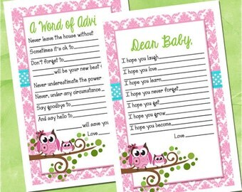 Owl Themed Baby Shower Dear Baby and Word of Advice Pink and Teal Damask