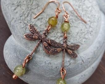 Dragonfly Dangle Earrings - Green Garnet
