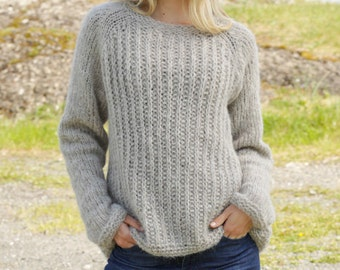 Knitted DROPS jumper with raglan , Alpaca Silk, hand knit sweater, low price
