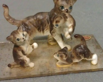 Cat Family Figurines Genuine Bone China Japan