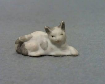 Grey and White Tiny Cat Figurine