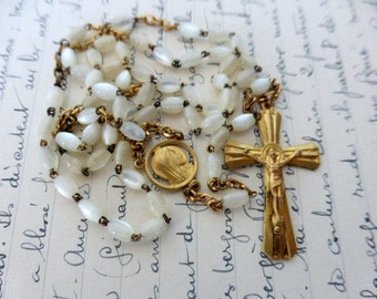 Antique French, Mother Of Pearl, Gilt Rosary. SHIPPING INCLUDED