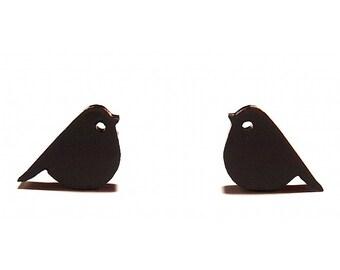 Black Finch Stud Earrings // Finch Stud Earrings / Finch Studs / Finch Earrings / Black Bird Earrings / Bird Stud Earrings / Black Birds