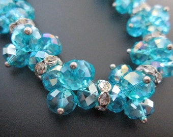 Ice Blue Glass Necklace And Earrings Blue Glass Jewellery Set -Vintage Street Sale-