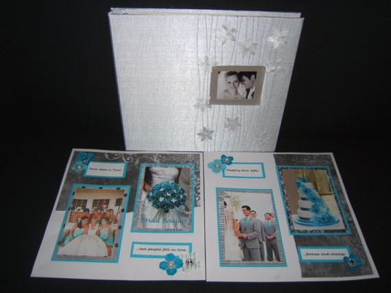 Wedding Scrapbook Album Premade Turquoise Wedding Photo