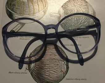Large lavender glasses frames