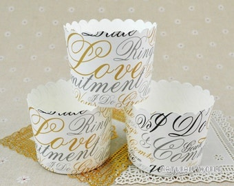 50X English letter Baking Cups,Cupcake Liners,Cake Cups Candy Cups Paper Dessert Cups Rainbow Party,Birthday Favor DIY Toppers,Wedding Favor