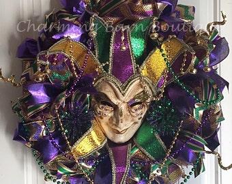 Mardi Gras Wreath, Large Mardi Gras Wreath, Mardi Gras Mask Wreath, Mardi Gras Mask, Mardi Gras Decoration,Fat Tuesday Decor, Venetian Style