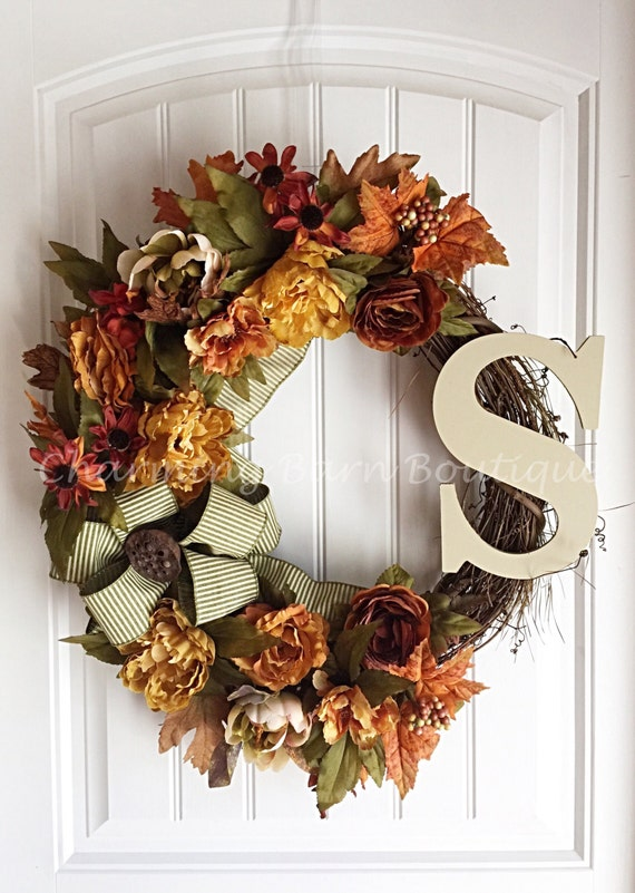 monogram wreath fall wreath fall floral wreath grapevine