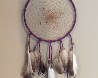 Dark Purple Dream Catcher with Gold-dipped Feathers