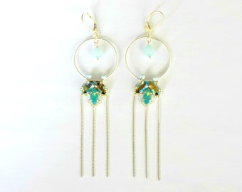 Silver earrings with crystal and Amazonite stones