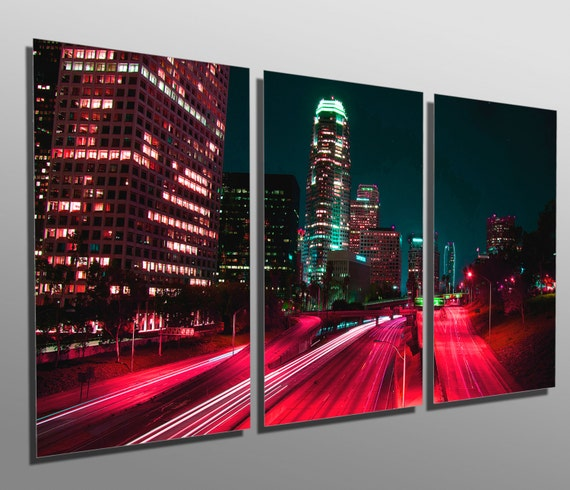 Metal Print Downtown Los Angeles Skyline 3 Panel Split