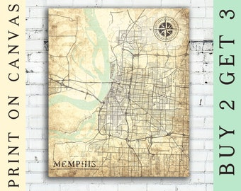 MEMPHIS Canvas Print Tennessee TN Vintage map Memphis City Tennessee Vintage Wall Art Print Memphis TN poster retro old antique map Memphis