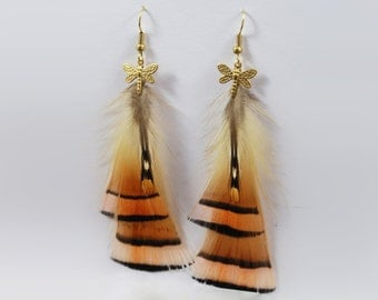 Brass Feather Earrings GoldPheasant Dragonfly