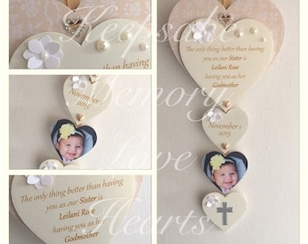 Sister Godmother gift personalised wooden keepsake heart