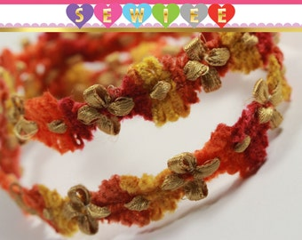 3yds Yellow Orange Red Gold Floral Rococo Trim|Vintage Style Flowers Ribbon|Flower Trim|Craft Supplies|Fuzzy Trim|Chenille Trim|Multi Color