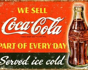 Coca Cola, Vintage  Ad , Metal Sign,  No.614