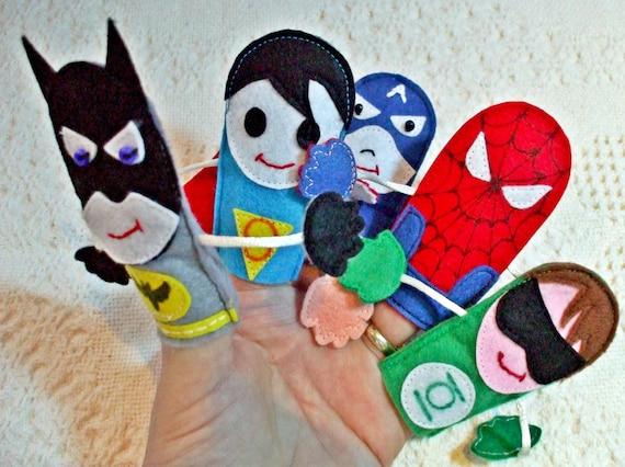 Superhero Toys For Boys : Felt finger toy superhero set of