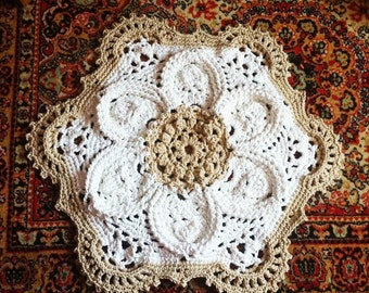 Crochet rug flower white with beige 35,4 in. Baby rug Round floor laceliving room mat. Wedding gift, birthday gift, area rug