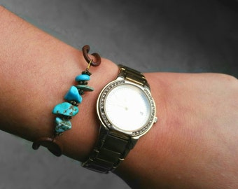 Turquoise Beads Bracelet with Leather