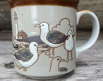 Vintage Handpainted Stoneware Seagull Mug