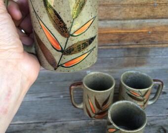 Vintage Stoneware Fern Leaf Mugs Set of Four