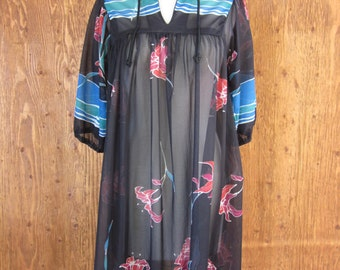 Vintage 70's Floral Sheer Caftan Tunic Dress Swimsuit Coverup Size Small