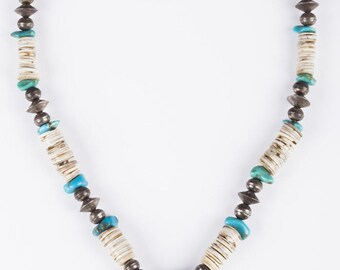 Pueblo Santo Domingo Coral and Turquoise Shell Necklace