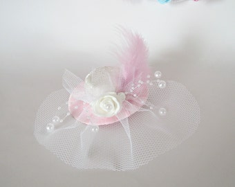 Ivory Headpiece, Birdcage Fascinator, Birdcage Veil, Bridal Hair Flower, Bridal Small Hat, kids accessories, Bridal Hair Accessories.
