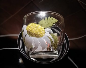 Chrysanthemums Shine - Hand Painted Glass Votive Holder