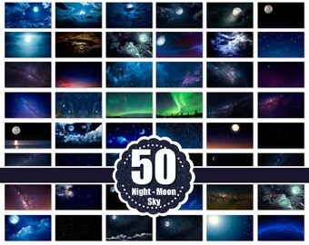 50 night moon sky photo Overlays, beautiful dark blue skies, clouds effect, starry night, realistic nature sky, cloud,  jpg file