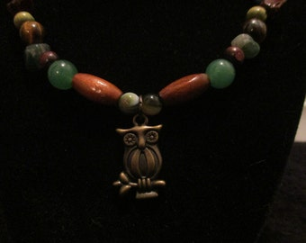 Brass Owl Pendant on Beaded Necklace