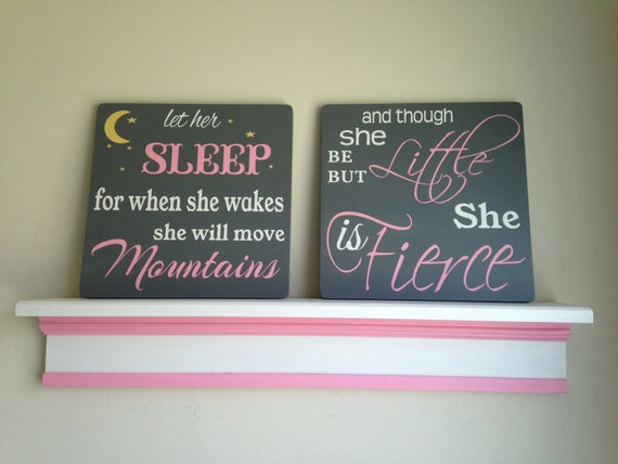 Set of two baby girl nursery signs let her sleep and though for Signs for little girl rooms