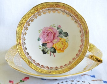 Yellow Royal Standard yellow and pink roses tea cup and saucer