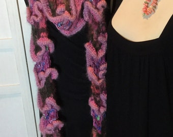 Scarf long sculptural,knitted and crochet mixed threads