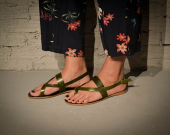 Double stripe Sandals,Handmade Leather Sandals,Green Sandals,Summer shoes,Summer sandals