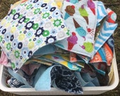 Set of 10 Odds and Sods Wipes/ Lunchbox Napkins / Family Cloth / Small Napkins / Reusable Napkins, Plus Charity Donation!